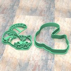 D_Gato c.jpg Télécharger fichier STL Timbre/tampon à biscuits. Cortante/Pâte à biscuits au timbre fondan.Gato c • Plan pour imprimante 3D, Centenario3D