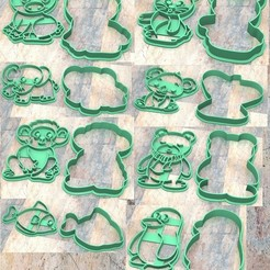 Descargar archivo 3D Cookie Stamp/Cutter. Cortante/Sello galletita masa fondan. Animales a, Centenario3D
