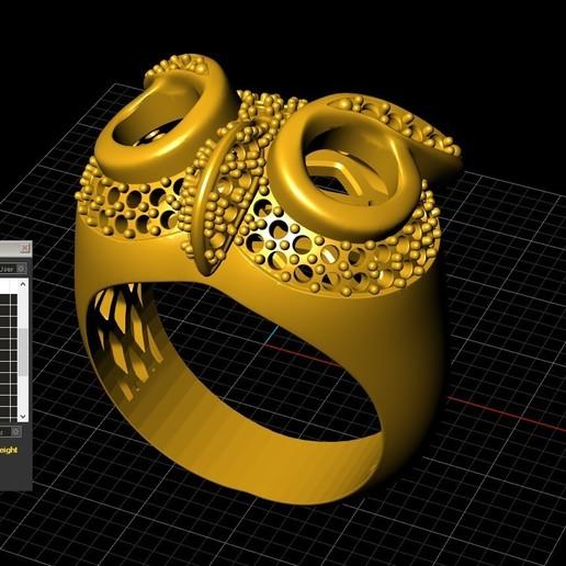 3.jpg Télécharger fichier STL gratuit Bague hibou bague bijou avec pierres Modèle d'impression 3D • Plan pour impression 3D, Cadagency