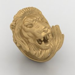 Download free STL Lion ring Man ring King ring Jewelry medallion 3D print model, Cadagency