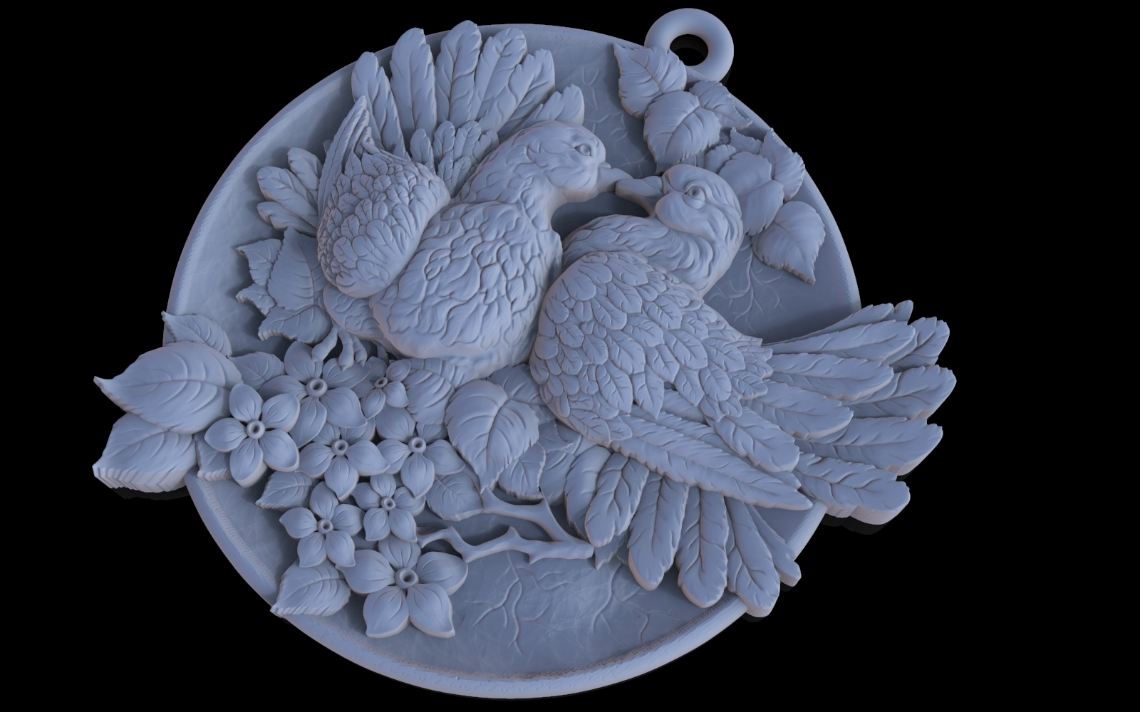 2.jpg Download free OBJ file Doves pendant medallion jewelry 3D print model • 3D print object, Cadagency
