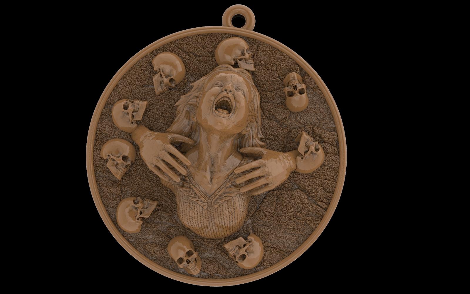 2.jpg Download free STL file Girl head with skulls pendant medallion jewelry 3D print model • 3D printing template, Cadagency