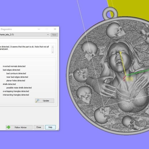 Screenshot_1.jpg Download free STL file Girl head with skulls pendant medallion jewelry 3D print model • 3D printing template, Cadagency