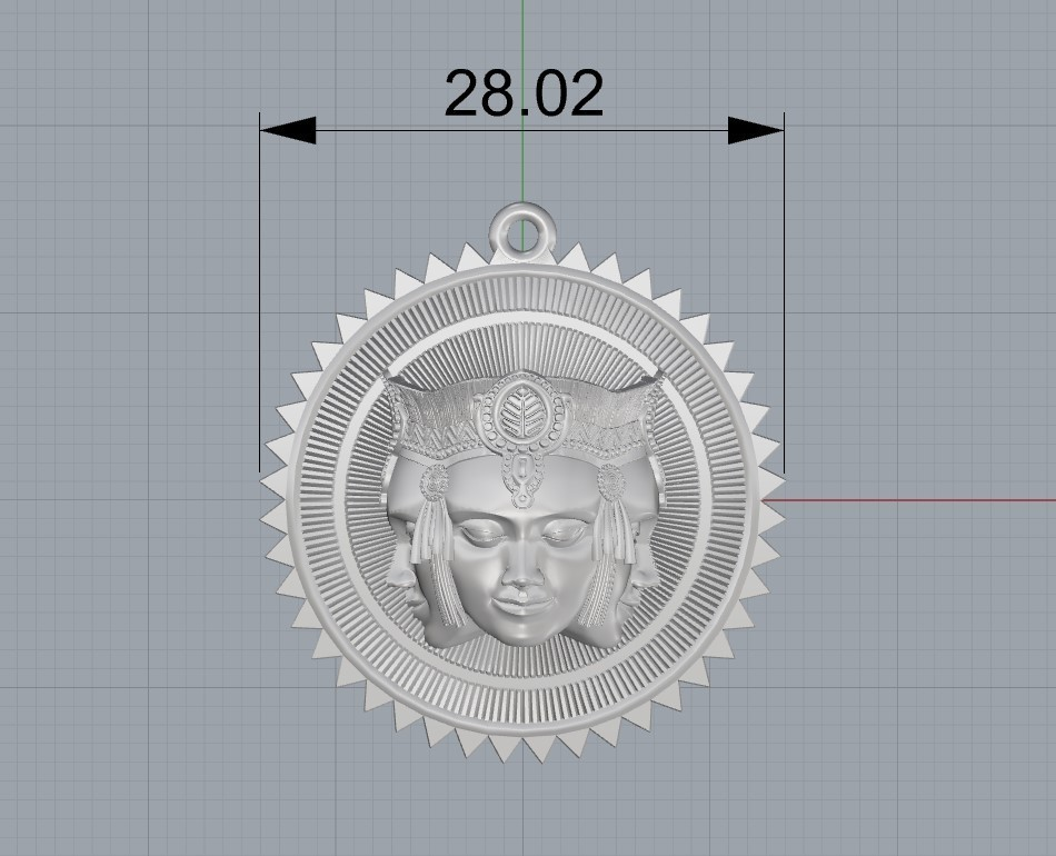 Screenshot_3.jpg Download free STL file Brahma pendant jewelry medallion • 3D printable design, Cadagency