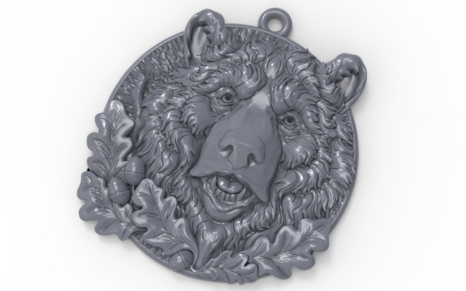 2.jpg Télécharger fichier STL gratuit Pendentif tête d'ours médaillon bijouterie modèle d'impression 3D • Modèle pour impression 3D, Cadagency