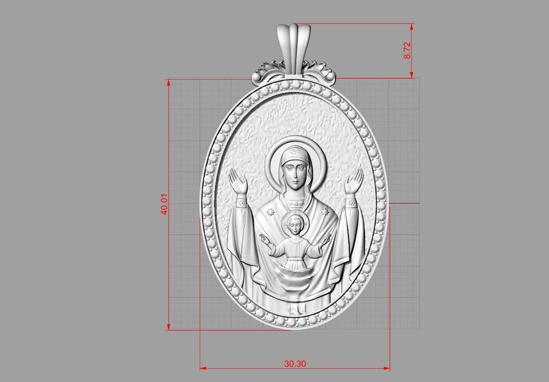 4.1.jpg Download free OBJ file Mother mery and jesus pendant medalion jewelry • 3D printable object, Cadagency