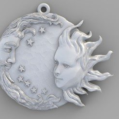 Download free 3D printing files Sun and moon man and woman meeting pendant medallion jewelry 3D print model, Cadagency