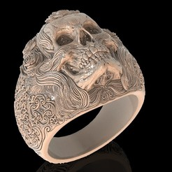Download free STL files Skull ring jewelry skeleton ring 3D print model, Cadagency