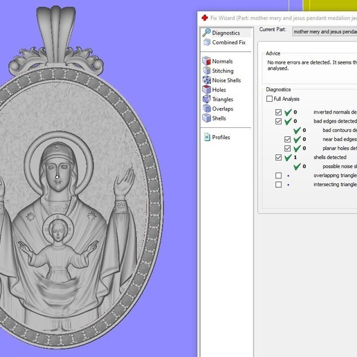 5.jpg Download free OBJ file Mother mery and jesus pendant medalion jewelry • 3D printable object, Cadagency
