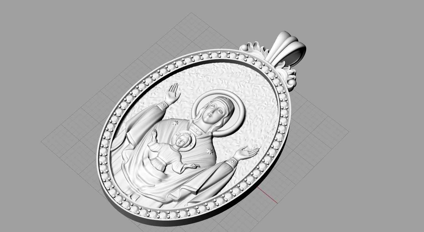 Screenshot_3.jpg Download free OBJ file Mother mery and jesus pendant medalion jewelry • 3D printable object, Cadagency