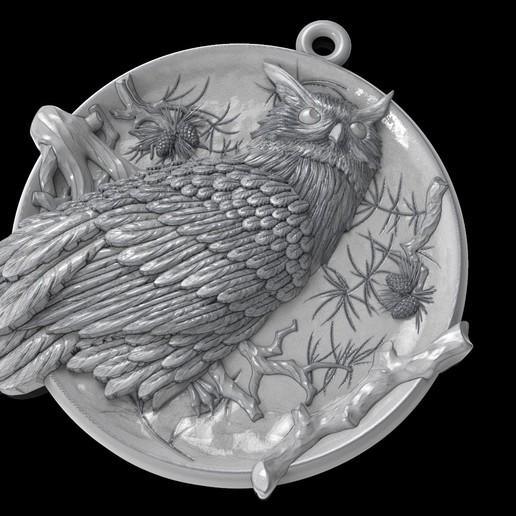Télécharger plan imprimante 3D gatuit Bijoux en médaillon avec pendentif de hibou, Cadagency