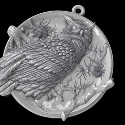 Download free OBJ file Owl pendant medallion jewelry • 3D printing design, Cadagency