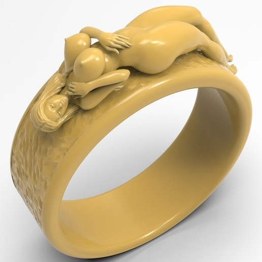 1.1.jpg Télécharger fichier STL gratuit Belle fille sexy bague fille bijoux homme bague • Design pour impression 3D, Cadagency