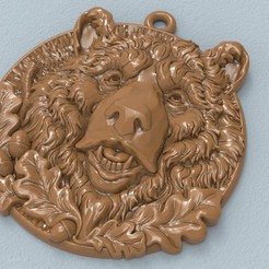 Download free 3D printing files Bear head pendant medallion jewelry 3D print model, Cadagency