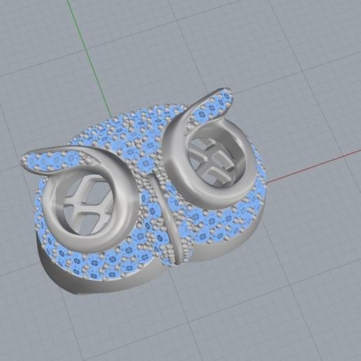 Screenshot_4.jpg Télécharger fichier STL gratuit Bague hibou bague bijou avec pierres Modèle d'impression 3D • Plan pour impression 3D, Cadagency