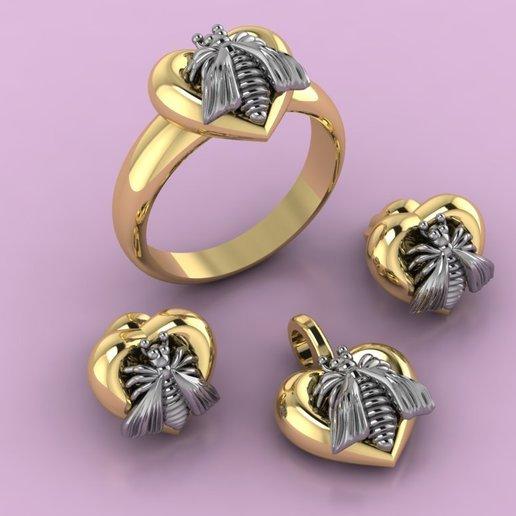 Télécharger fichier STL gratuit Bague Gucci Pendentif Boucle d'oreille Collier Bijoux abeille Modèle 3D imprimé • Modèle à imprimer en 3D, Cadagency