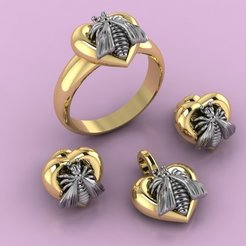 Download free 3D print files Gucci Ring Earring Pendant Necklace Bee Jewelry 3D print model, Cadagency