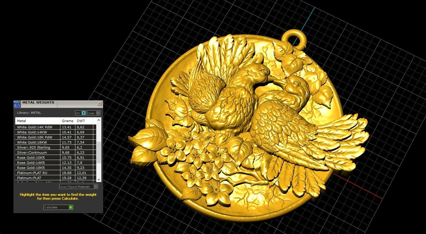Screenshot_5.jpg Download free OBJ file Doves pendant medallion jewelry 3D print model • 3D print object, Cadagency
