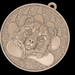 Download free STL file Bear head pendant medallion jewelry 3D print model • Template to 3D print, Cadagency