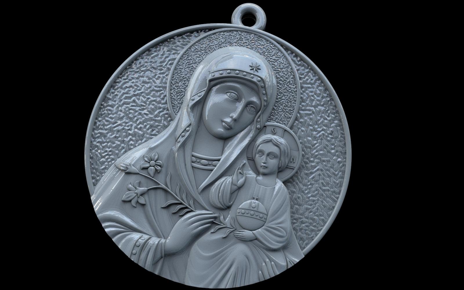 2.jpg Télécharger fichier OBJ gratuit Mère Marie avec Jésus Christ Saint pendentif bijoux chrétiens modèle d'impression 3D • Plan imprimable en 3D, Cadagency