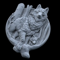 Download free STL Wolf and baby pendant jewelry medallion 3D print model, Cadagency