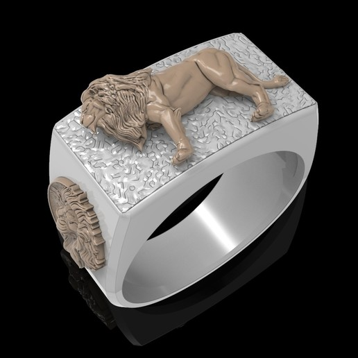 Download free 3D printer templates Lion ring Man ring jewelry 3D print model, Cadagency