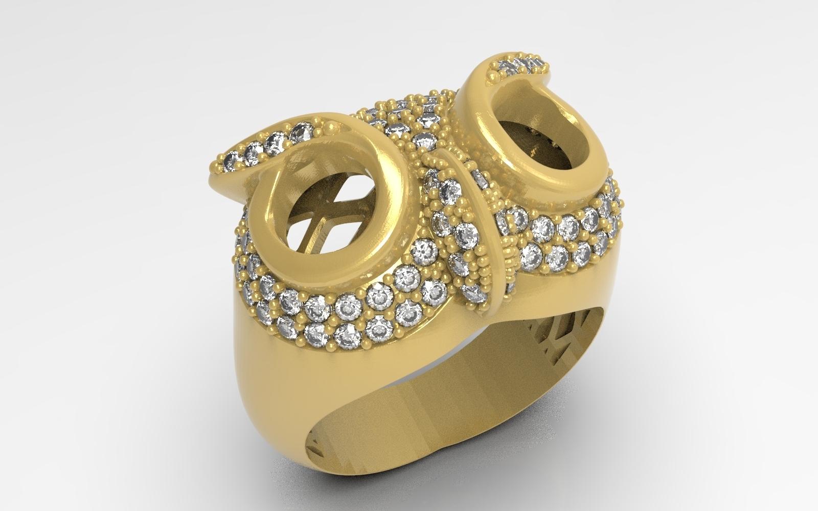 1.jpg Télécharger fichier STL gratuit Bague hibou bague bijou avec pierres Modèle d'impression 3D • Plan pour impression 3D, Cadagency