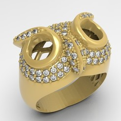 Download free STL file Owl ring jewelry ring with stones 3D print model, Cadagency