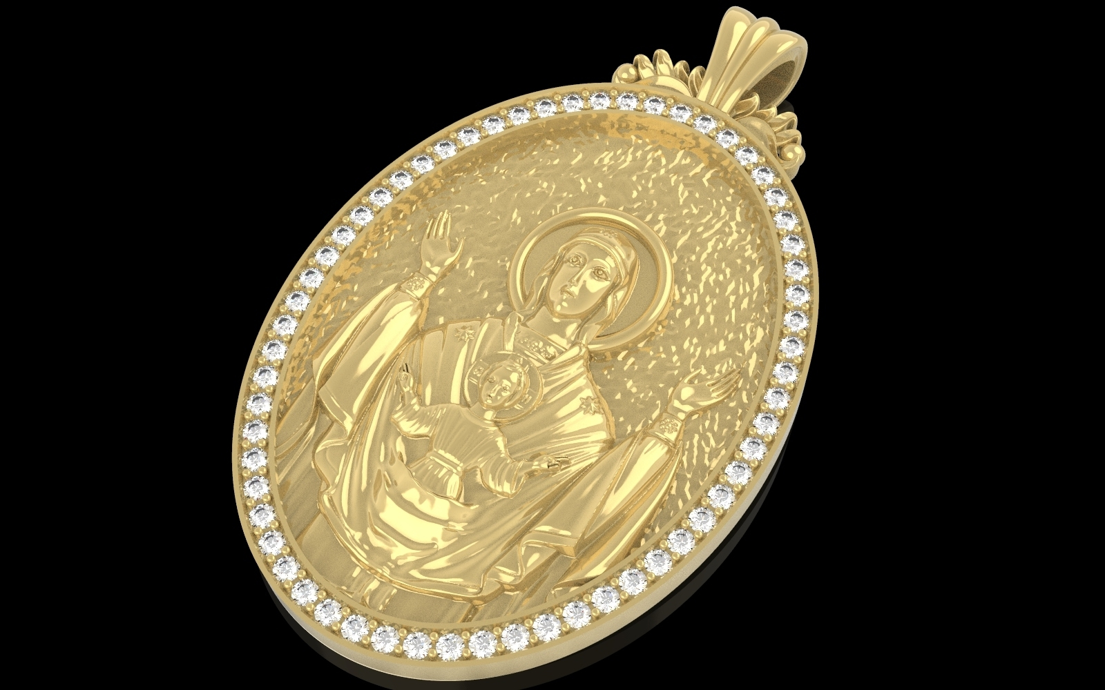 1.jpg Download free OBJ file Mother mery and jesus pendant medalion jewelry • 3D printable object, Cadagency