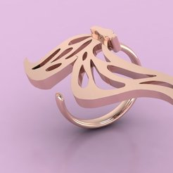 Download free 3D printer files butterfly woman ring 3D print model, Cadagency