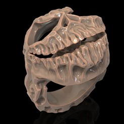 Download free STL files Skull ring skeleton ring jewelry 3D print model, Cadagency