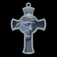 Download free 3D printing templates Jesus Cross pendant medallion jewelry 3D print model, Cadagency