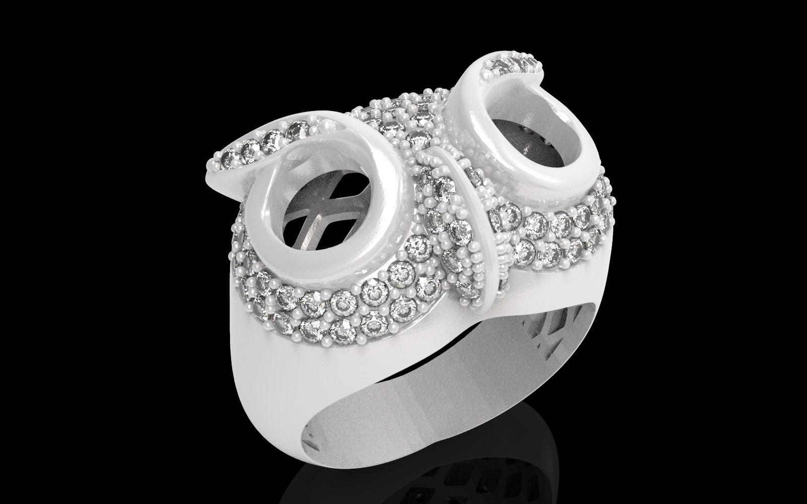 2.jpg Télécharger fichier STL gratuit Bague hibou bague bijou avec pierres Modèle d'impression 3D • Plan pour impression 3D, Cadagency