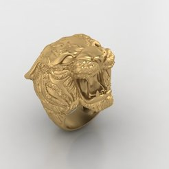 Download free 3D printing templates Tiger Ring Man ring Jewelry 3D print model, Cadagency