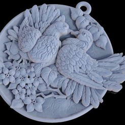 Download free OBJ file Doves pendant medallion jewelry 3D print model • 3D print object, Cadagency