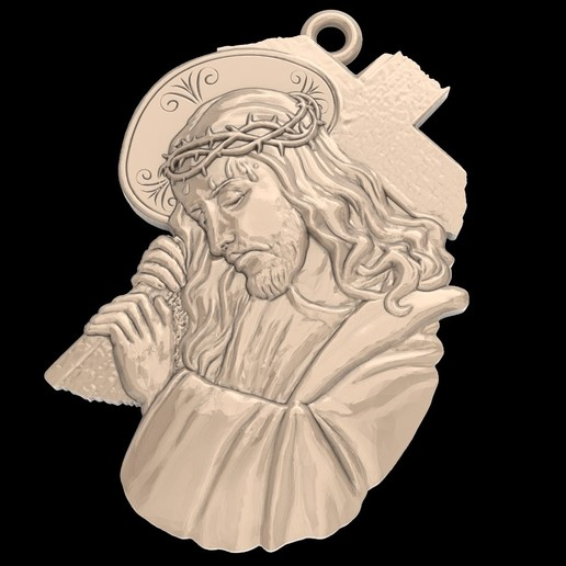 Télécharger STL gratuit Jésus avec une croix pendentif médaillon bijoux modèle d'impression 3D, Cadagency