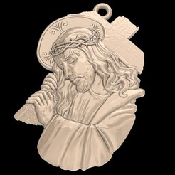 Download free STL file Jesus with a cross pendant medallion jewelry 3D print model • 3D print object, Cadagency