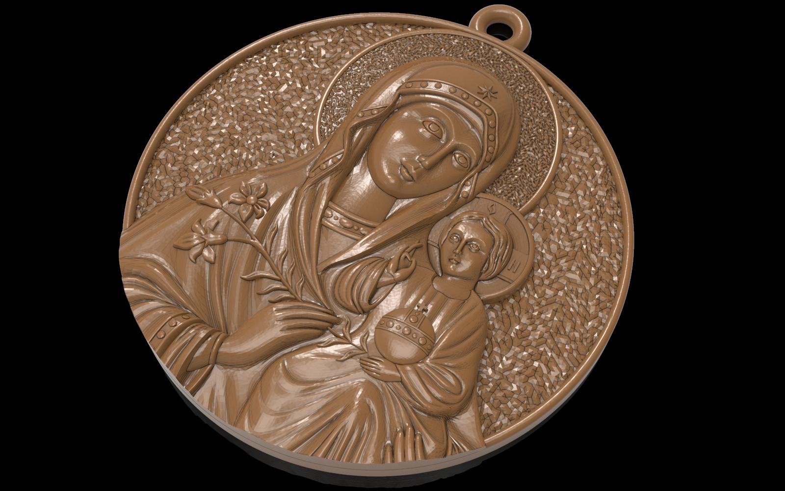 1.jpg Télécharger fichier OBJ gratuit Mère Marie avec Jésus Christ Saint pendentif bijoux chrétiens modèle d'impression 3D • Plan imprimable en 3D, Cadagency