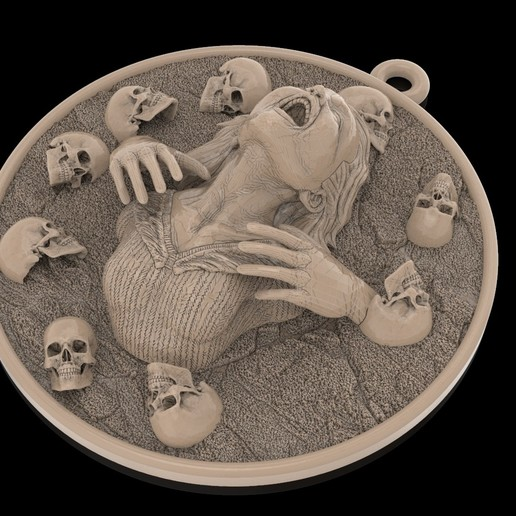 1.jpg Download free STL file Girl head with skulls pendant medallion jewelry 3D print model • 3D printing template, Cadagency