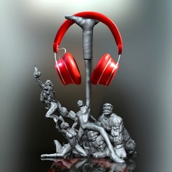 untitled.191b.jpg Download STL file THE 4 FANTASTICS (headphone holder) • 3D printer object, raul111