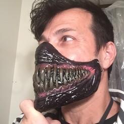 vJw.jpg Download OBJ file Venom half Face Mask • 3D printing design, Himmelworks