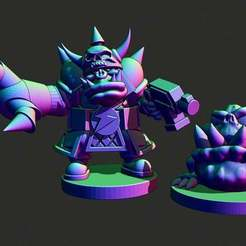 bossandpet.JPG Download free STL file Small scale Space Orc big boss and pet • Template to 3D print, Jazzmantis