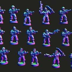 grunts.jpg Download free STL file Wastewars - Gamma Grunt infantry • 3D print model, Jazzmantis