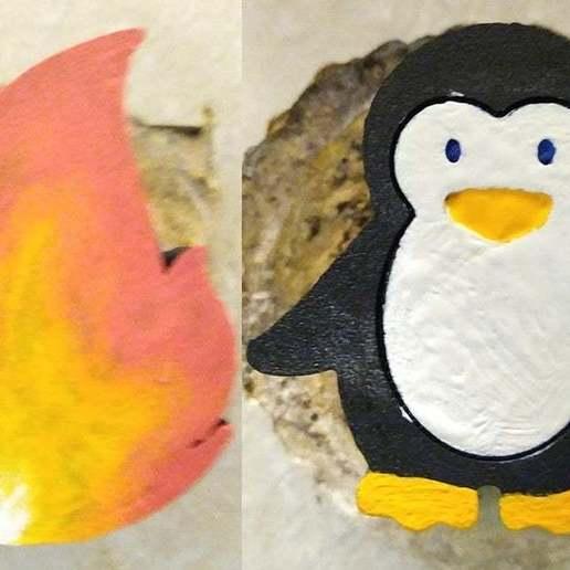 Handles.jpg Télécharger fichier STL gratuit Boutons de douche chaude et froide bilingues Pingouin et poignée de feu pourraient être utilisés pour un évier • Design à imprimer en 3D, Mrdwgraf