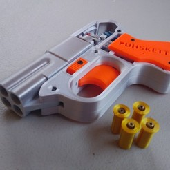 Download STL Functional Pepperbox 4-barrel Derringer Cap Gun Toy, Puhsketti