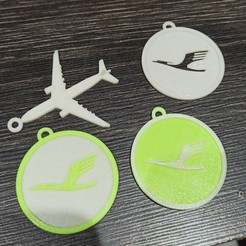 Download STL file Lufthansa and plane keychain • Design to 3D print, cifrerenzo