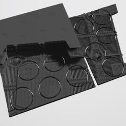 Télécharger fichier STL 40K BASES INDUSTRIELLES - TABLIER MAGNÉTIQUE INSÉRÉ AVEC BASES (10 X 32MM BARRIER DROIT) • Objet imprimable en 3D, Z-Axis_Hobbies