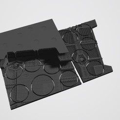 Download STL file 40K INDUSTRIAL BASES - TABLEWAR MAGNETIC TRAY INSERT WITH BASES (10 X 32MM + 1 X 40MM RIGHT TRAY) • 3D print object, Z-Axis_Hobbies