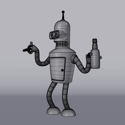 WIREFRAME.png Télécharger fichier STL gratuit Bender Futurama • Design pour imprimante 3D, EugenioFructuoso