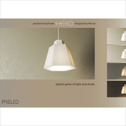A.png Download STL file pendant lampshade HEXO • 3D printer model, Pixeled